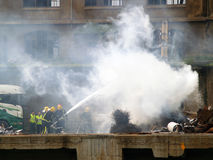 Unfall, Kran auf Feuer Lizenzfreies Stockbild