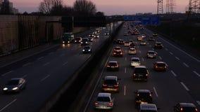 Unfall und Stau auf deutscher Landstraße A66 stock video footage