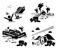 Unfall-Unfall-Tragödien-Bordflugzeug-Zug-Drahtseilbahn Cliparts-Ikonen Stockbilder