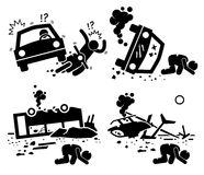 Unfall-Verkehrsunfall-Tragödien-Auto-Bus-Hubschrauber Cliparts-Ikonen Lizenzfreie Stockbilder