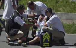 """Unfall am zweiten Tag von Wegstadium 17 Tour de France 2016: Bern-swi †""""Finhaut Emosson (swi) Lizenzfreie Stockfotografie"""