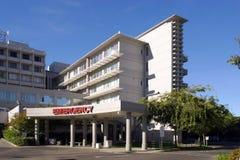 Unfallstation-Eingang an einem Krankenhaus Stockbild