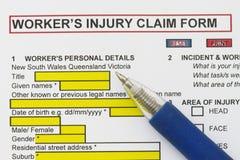 Unfallverletzungs-Antragsformular Stockfoto