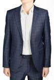 Unfastened blue plaid  coat suit men wedding dress bridegroom, i Stock Image