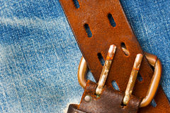 Unfastened old leather belt with vintage buckles Stock Image
