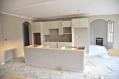 Unfertige Küche im neuen Haus Stockfotos