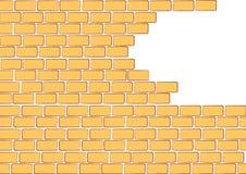 Unfertige orange Backsteinmauer Stockfotos
