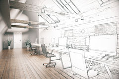 Unfertiges Projekt Coworking-Büros Lizenzfreies Stockfoto