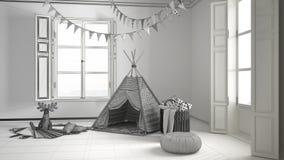 Unfertiges Projekt des Kinderraumes mit Möbeln, Teppich und Zelt Lizenzfreies Stockfoto