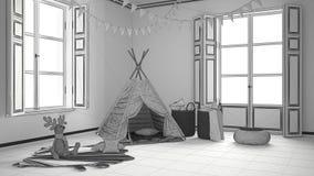 Unfertiges Projekt des Kinderraumes mit Möbeln, Teppich und Zelt Stockfotos