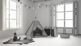 Unfertiges Projekt des Kinderraumes mit Möbeln, Teppich und Zelt Lizenzfreies Stockbild