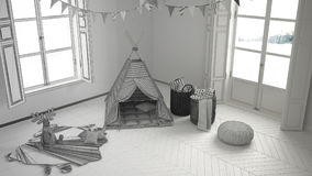 Unfertiges Projekt des Kinderraumes mit Möbeln, Teppich und Zelt Lizenzfreie Stockbilder