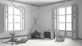 Unfertiges Projekt des Kinderraumes mit Möbeln, Teppich und Zelt Stockbild