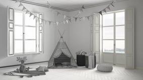Unfertiges Projekt des Kinderraumes mit Möbeln, Teppich und Zelt Lizenzfreie Stockfotografie