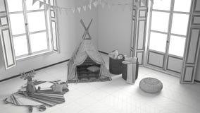 Unfertiges Projekt des Kinderraumes mit Möbeln, Teppich und Zelt Stockbilder