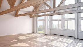 Unfertiges Projekt des leeren Raumes im Luxusöko-haus, Parkettflorida vektor abbildung