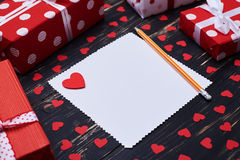 Unfilled card with heart and pencil Stock Images
