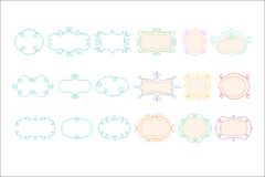 Unfilled frames and borders set, hand drawn vector illustration on white background. Unfilled frames and borders set, hand drawn vector illustration isolated on vector illustration