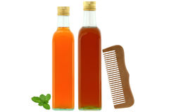 Unfiltered organic apple cider vinegar with mother enzymes and h. Bottles of raw and unfiltered organic apple cider vinegar with mother enzymes, organic honey Royalty Free Stock Image