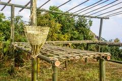 Unfinish bamboo hut in the farm Stock Photos