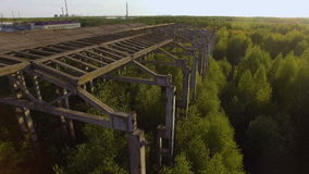 An unfinished, abandoned building overgrown with trees. conceptual background. Nature abhors a vacuum. On an old abandoned plant grow young trees stock video footage