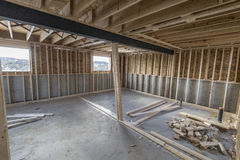 Unfinished Basement. An un finished basement of house  under construction Stock Image