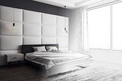 Unfinished bedroom interior. With copy space, furniture and window with daylight. Mock up, 3D Rendering Stock Images