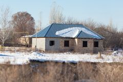 Unfinished brick house in winter Stock Images