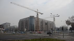 Unfinished Building at Construction Site. Unfinished Building of flats in eastern Europe stock video