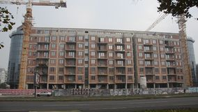 Unfinished Building at Construction Site. Unfinished Building of flats in eastern Europe stock footage