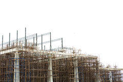 Unfinished building construction site. And white background stock photo