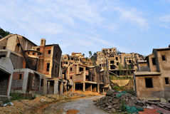 Unfinished building. The economic crisis impact, a lot of building stops in Chongqing, China stock image
