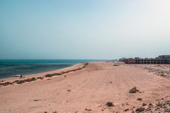 The unfinished building of the hotel on the shores of the Red Sea. In Sharm El Sheikh Stock Photo