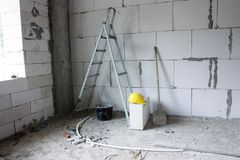 Unfinished building interior. Image of unfinished building interior Royalty Free Stock Photography