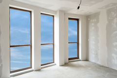 Unfinished building interior (includes clipping path). Unfinished building interior, white room (includes clipping path royalty free stock photo