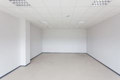 Unfinished building interior. White room stock photo