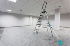 Unfinished building interior. White room Royalty Free Stock Image