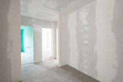 Unfinished building interior. White room Royalty Free Stock Photos