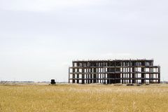 Empty unfinished building. Unfinished building made of concrete slabs Royalty Free Stock Photo