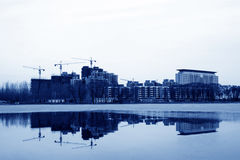 Unfinished building at the waterfront, north china Stock Image