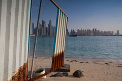 Unfinished buildings on the beach in Dubai Stock Photography