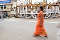 Unfinished chariot standing on grand road puri odisha india
