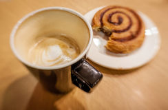 Unfinished coffee and croissant Stock Photography