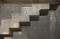 Unfinished concrete stairs. In diagonal layout Stock Photo