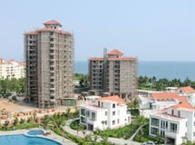 Unfinished construction in beach development Royalty Free Stock Photo