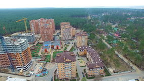 Unfinished construction of multi-storey buildings. aerial drone video.  stock footage