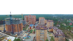 Unfinished construction of multi-storey buildings. aerial drone video.  stock video footage