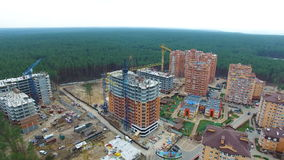Unfinished construction of multi-storey buildings. aerial drone video.  stock video