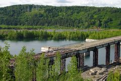 An unfinished dam reservoir Krapivino Royalty Free Stock Image