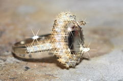 Unfinished diamond ring in the work shop. S Royalty Free Stock Photography